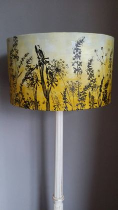 Unique Original lino cut lampshade, designed and printed by me in my shropshire studio. Using the beautiful shropshire countryside as my