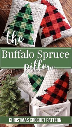 This is a crochet pattern for the {Buffalo Spruce} Pillow. This crochet pillow pattern, featuring a buffalo plaid Christmas tree, is sure to add some rustic co Crochet Christmas Gifts, Crochet Christmas Decorations, Crochet Gifts, Christmas Pillow, Free Crochet, Plaid Christmas, Crochet Christmas Blanket, Free Christmas Crochet Patterns, Tree Decorations