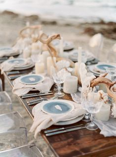 By The Sea Styled Shoot with Elleson Events - Kati Rosado Photography: Fine Art Wedding Photography Beach Wedding Tables, Beach Wedding Decorations, Unique Wedding Favors, Beach Weddings, Sea Wedding Theme, Blue Beach Wedding, Driftwood Wedding Centerpieces, Destination Wedding Decor, Seashell Wedding