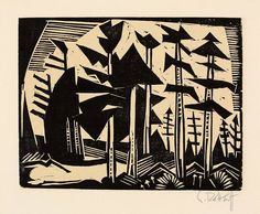 """Karl Schmidt-Rottluff Rottluff 1884 – 1976 Berlin """"RUSSISCHER WALD"""" 1918. Woodcut on wove paper. 20 x 26,1 cm (31,9 x 42 cm) (7 ⅞ x 10 ¼ in. (12 ½ x 16 ½ in.)) Signed and inscribed: 1828."""