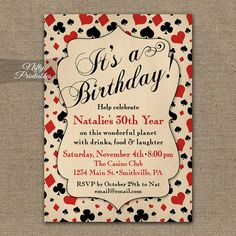 A vintage-style casino birthday invitation with tons of card-playing character. To see all my casino items: