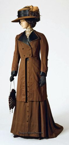 Dress and jacket, American, ca. 1908. Sold by John Wanamaker Co. Brown wool flannel and silk satin. Philadelphia Museum of Art