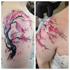 watercolor cherry blossom tattoo - Google Search