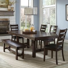Dining Set with Bench | Kona Dining Set with Ladder Back Chairs and Backless Bench | Part of the Kona Collection by Intercon