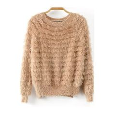 Dip Hem Fuzzy Camel Sweater ($15) ❤ liked on Polyvore featuring tops, sweaters, camel, loose fitting tops, long sleeve tops, beige sweater, acrylic sweater and fuzzy sweater