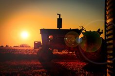sunset and tractor