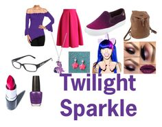 """Twilight Sparkle Closet Cosplay"" by thecrystalheart on Polyvore featuring Chicwish, Tory Burch, Prada, Nicole Miller, My Little Pony, Elope, Manic Panic and OPI"