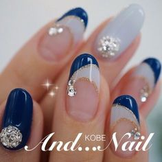 "Fantastic ""acrylic nail art designs rhinestones"" info is available on our web pages. Check it out and you wont be sorry you did. French Nails, Sexy Nails, Manicure E Pedicure, Fabulous Nails, Creative Nails, Blue Nails, Christmas Nails, Nail Tips, Nails Inspiration"