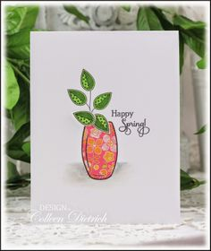 Dietrich Designs / super clean and simple paper-pieced Happy Spring card, using vase and sentiment from Inspired by Stamping, and leaves from Papertrey Ink's Doodlie Do.
