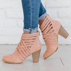 868628427261d Plus Size Weave Zipper Booties Casual Chunky Heel Ankle Boots #winterboots Women's  Boots, Fall