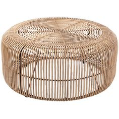 Out There Interiors Round Rattan Coffee Table ($750) ❤ liked on Polyvore featuring home, furniture, tables, accent tables, round table, circular table, round occasional table, round furniture and rattan coffee table