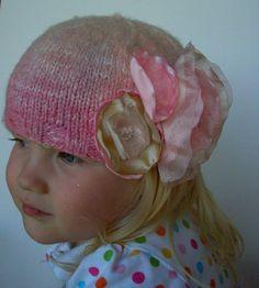Handspun Handknit Pink Toddler Hat With by handspunwhorledyarns, $30.00