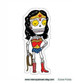 Wonder Calavera Die Cut Vinyl Sticker by MisNopalesArt on Etsy