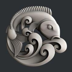 Modelos STL para impresora o router cnc fish 3d Printer Models, 3d Printer Designs, 3d Cnc, 3d Modelle, Modelos 3d, Carving Designs, 3d Prints, Bone Carving, Fish Art