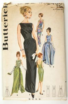 Butterick 2488 Vintage 1960s Evening Dress Pattern Bust 36 Slim Sheath Overskirt Sewing Pattern - Click Image to Close