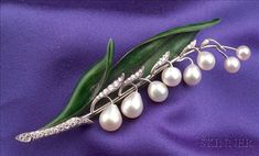 Enamel, Pearl and Diamond Lily-of-the-Valley Brooch, Marcus & Co.