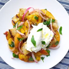 Tomatoes take a time out in this peachy panzanella.  Get the recipe: Peach Panzanella with Burrata   - Delish.com