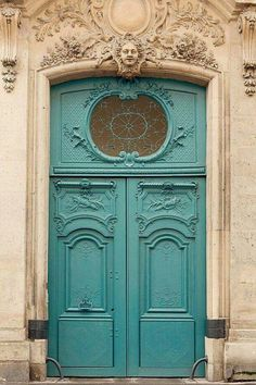 Blue Door, Paris Photography, Turquoise, Pastel, French Home Decor, Paris Print, Baroque, Architecture, Ornate.