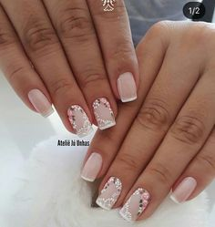 130 nail designs that are so perfect for summer 2019 page 27 nail design 2019 - Nail Desing French Nails, Gorgeous Nails, Pretty Nails, Cute Nail Art, Edgy Nail Art, Flower Nails, Nail Art Designs, Nail Design, Simple Nails