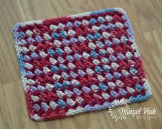 Yarn: 2 colors of worsted weight kitchen cotton. Sample shown using Lily Sugar 'n Cream.     Materials:  H/8 (5.0 mm) crochet hook, ya...