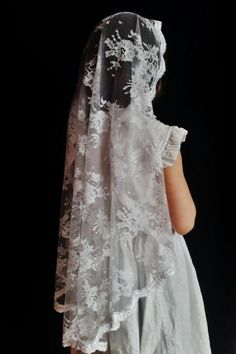 Clare - Cascading Chantilly Lace Mantilla - Veils by Lily Catholic Communion, First Communion Veils, Bridal Veils And Headpieces, Mantilla Veil, Lace Patterns, Chantilly Lace, Bridal Accessories, Wedding Gowns, Wedding Stuff