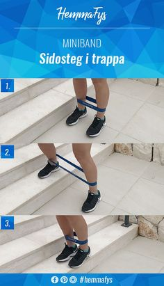 Sidosteg i trappa med miniband Mini Band Exercises, Band Workouts, Outdoor Workout, Fitness Workout For Women, Living A Healthy Life, Yoga, Aerobics, Get In Shape, Pilates