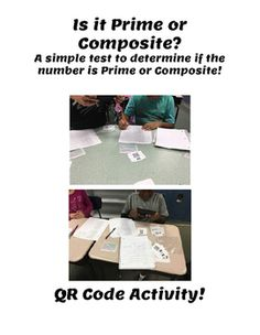 Is it Prime or Composite?Here is a simple test to determine if a number is primeor composite!Students will be given a simple test to test if a number is prime or composite.  I use this test to help my students learn properties of composite numbers as well as prime numbers. Prime And Composite Numbers, Prime Numbers, My Teacher, Student Learning, Composition, Students, Teaching, Activities, Education