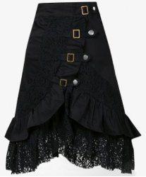 Punk Style Women's Black Riveted Laced Skirt (BLACK,XL) | Sammydress.com Mobile