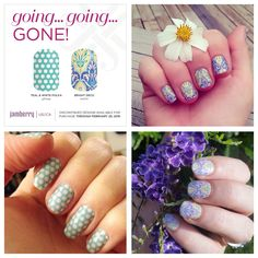 Discontinued designs retiring Feb. 29th. Jamberry Nails. Order at www.helenmariecaten.jamberrynails.net
