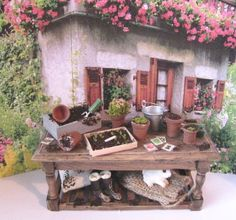 Doll house Potting table filled. Twelfh by Insomesmallwayminis