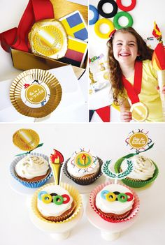 olympics party theme with ring fondant cupcake toppers Olympic Idea, Olympic Games, Gold Cupcakes, Themed Cupcakes, Fondant Cupcake Toppers, Cupcake Liners, Pokemon, Cupcake Party, Party Entertainment