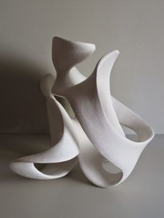Fired clay #sculpture by #sculptor Rosemarie Powell titled: 'white clay abstract form (1) (Indoor white ceramic Contemporary abstra)'. #RosemariePowell