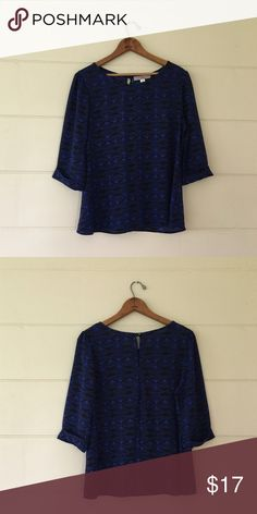 Myàn Blue & Black 3/4 Sleeve Blouse Myàn brand size medium blue and black 3/4 sleeve blouse. Bust is 37 inches length in front is 22 inches length in back is 24 inches. 100% polyester. In excellent condition. myàn Tops Blouses