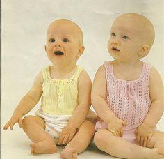 PDF Knitting Pattern, 3Ply, Baby Singlets, Top, Rib, Lace