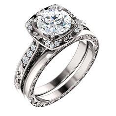 7mm Moissanite Halo Diamond antique Wedding Ring by SigoJewelry
