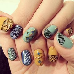 nail art - I especially love the ones that look like they have little gems on them <3