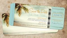 Save the Date Boarding Pass Vintage Blue // by Idowithyou on Etsy, $4.00