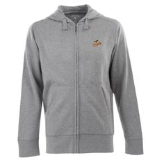 MLB Men's Baltimore Orioles Full Zip Signature Hood (Greyheather, Small)  https://allstarsportsfan.com/product/mlb-mens-baltimore-orioles-full-zip-signature-hood-greyheather-small/  80% Cotton, 20% Polyester Full Zip Hooded Fleece Team Logo Embroidered On Left Chest