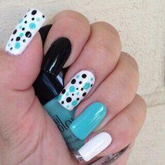 Beautiful Photo Nail Art: 20 Nail designs for long nails Diy Nails, Cute Nails, Pretty Nails, Nail Design Spring, Nail Art Design Gallery, Polka Dot Nails, Polka Dots, Blue Dots, Aqua Blue