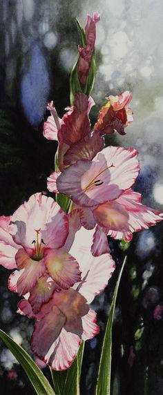 Gladioli - NAOMI TYDEMAN RI (winner of the Turner Watercolour Award) this is gorgeous.