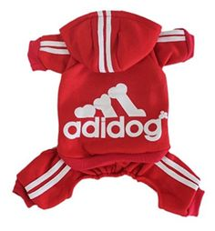 IdepetTM Adidog Pet Dog Cat Clothes 4 Legs Cotton Puppy Hoodies Coat Sweater Costumes Dog Jacket XS Red ** Be sure to check out this awesome product.