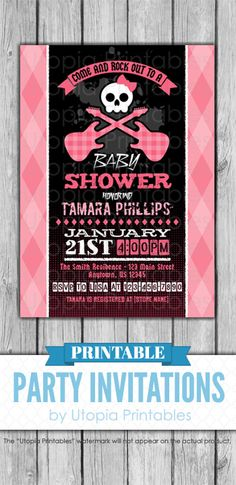 A printable rock 'n roll baby shower invitation with a cute skull with a bow, guitars and distressed grunge text in pink and black. Perfect for a girl baby shower. Cute grungy rock and roll digital party invite template with a unique punk music inspired design to fit your girly rocker shower idea, musical style or theme. This customized announcement card will be personalized with your custom text. Colors can be changed upon request. DIY file that you can download and print at home.