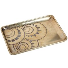 "Dinanderie brass tray with a rolled rim inlaid with silver geometric design. Signed: "" LAURENT LLAURENSOU"" & ""414""   Three dinandiers were pupils of Jean Dunand: Laurent Llaurensou, Claudius Linossier and Pierre Carrel."