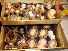 a treasure chest of vintage.  Love cameos.