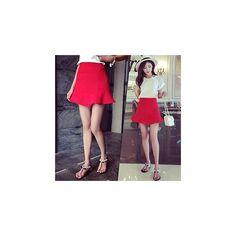 Panda Love Frilled Hem A-Line Skirt ($26) ❤ liked on Polyvore featuring skirts, women, a line skirt, ruffle hem skirt, knee length a line skirt, black a line skirt and flounce hem skirt
