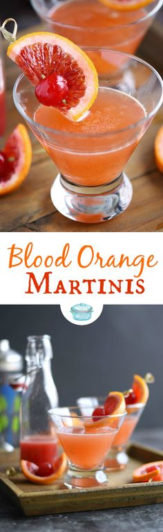 These refreshing Blood Orange Martinis are the perfect adult beverage for date night with their sweet, tart flavors and gorgeous color! © COOKING WITH CURLS