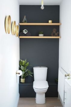 storage over toilet ~ storage over toilet + storage over toilet in small bathroom + storage over toilet ideas + storage over toilet small spaces Powder Room Paint, Powder Room Decor, Bathroom Interior, Modern Bathroom, Minimal Bathroom, Small Bathroom Paint, Small Toilet Room, Small Toilet Design, Guest Toilet