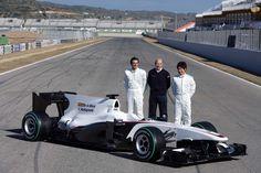 Peter Sauber with Pedro de la Rosa and Kamui Kobayashi