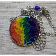 Rainbow stripes melted crayon pendant necklace sealed in clear resin... ($11) ❤ liked on Polyvore featuring jewelry