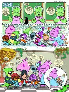 Alan Alien Pagina 16 - Publicada en la revista infantil PIN - Guion & Arte (realizado de forma digital)